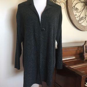 Jaclyn Smith Size 1X Gray Cardigan Sweater